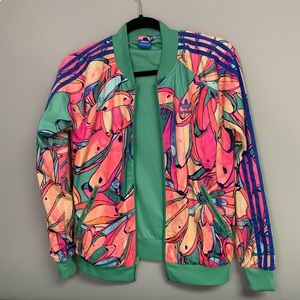 Adidas Floral Bright Zip Up Jacket Small